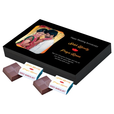 Chocolates Anniversary Gift with Photo and Name 12 pcs  1 Anniversary 12A