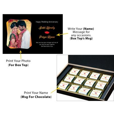 Chocolates Anniversary Gift with Photo and Name 12 pcs  1 Anniversary 12C