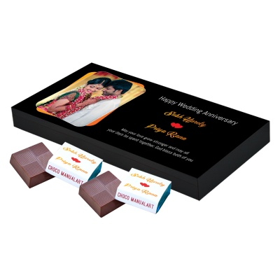 Chocolates Anniversary Gift with Photo Name and Message  18pcs  1 Anniversary 18A 1