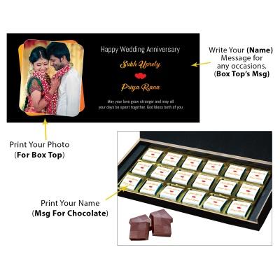 Chocolates Anniversary Gift with Photo Name and Message  18pcs  1 Anniversary 18C