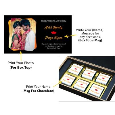 Chocolate Anniversary Gift with Photo Name and Message  6 pcs  1 Anniversary 6C