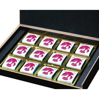 Personalized Mothers Day with Photograph Name and Message chocolate box  12 Pcs  2 Mothes 12B