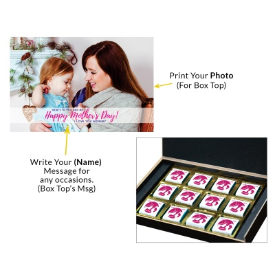 Personalized Mothers Day with Photograph Name and Message chocolate box  12 Pcs  2 Mothes 12C