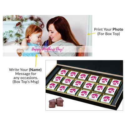 Personalized Mothers Day with Photograph Name and Message chocolate box  18 Pcs  2 Mothes 18C