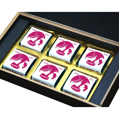 Personalized Mothers Day with Photograph Name and Message chocolate box  6 Pcs  2 Mothes 6B