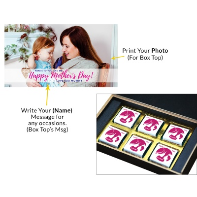 Personalized Mothers Day with Photograph Name and Message chocolate box  6 Pcs  2 Mothes 6C