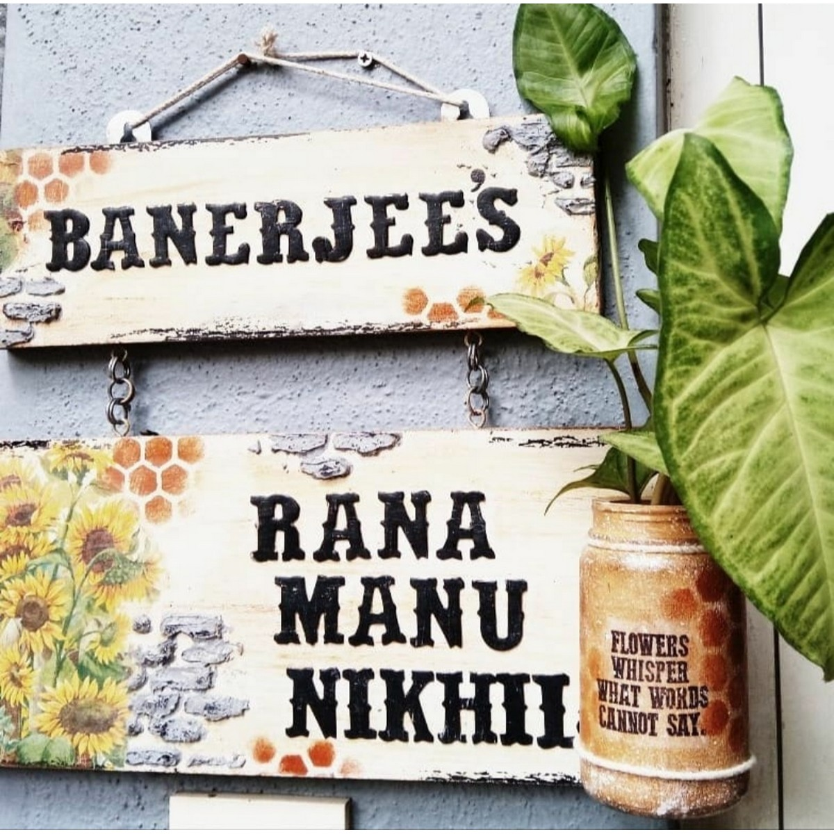 2 layered Name Plate with Plant Pot