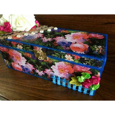Flowery Decoupage bangle Box  bangle box for wife mother sister hand made hitchki dot in personalized gifts 0001