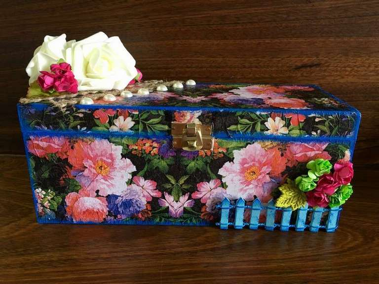 Flowery Decoupage bangle Box  bangle box for wife mother sister hand made hitchki dot in personalized gifts 0002