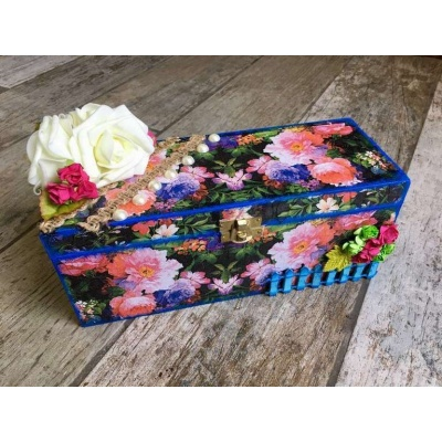 Flowery Decoupage bangle Box  bangle box for wife mother sister hand made hitchki dot in personalized gifts