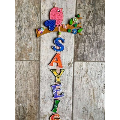 Bird on tree Kids Name Plate  door name plates for cute kids room hand made hitchki dot in 0001