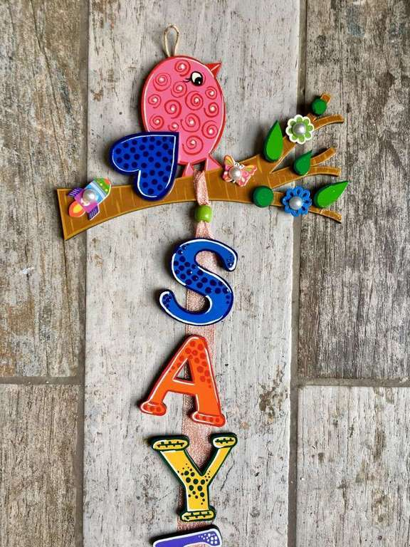 Bird on tree Kids Name Plate  door name plates for cute kids room hand made hitchki dot in 0002