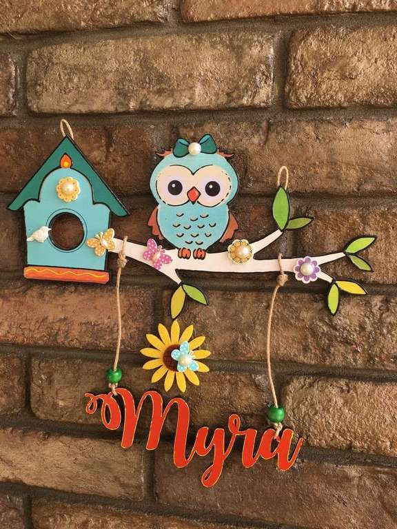 Cute Owl Kids Name Plate  door name plates for cute kids room hand made hitchki dot in 0004