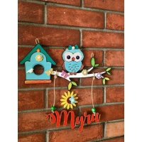 Cute Owl Kids Name Plate  door name plates for cute kids room hand made hitchki dot in 0005