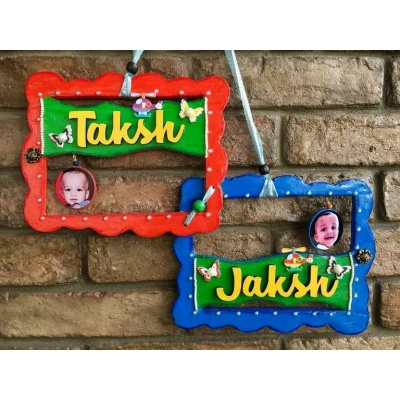 Siblings Kids Name Plate  door name plates for cute kids room hand made hitchki dot in 0008
