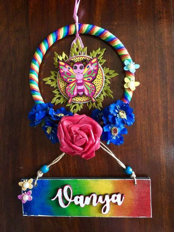 Rainbow Kids Wooden Name Plate  door name plates for cute kids nameplate room hand made hitchki