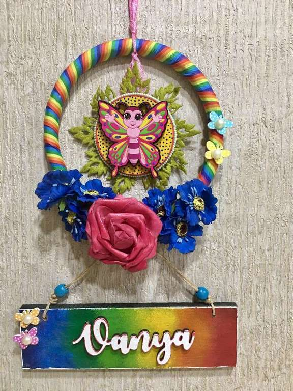 Rainbow Kids Wooden Name Plate  door name plates for cute kids room hand made hitchki dot in 0013