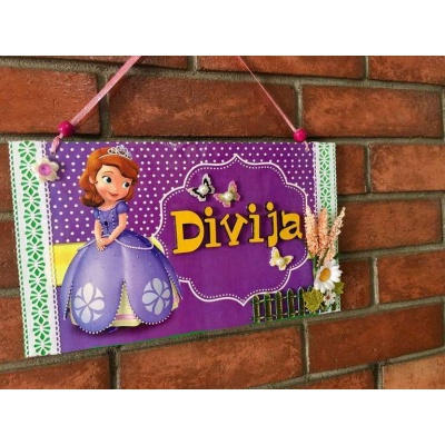 Sophia Kids Name Plate  door name plates for cute kids room hand made hitchki