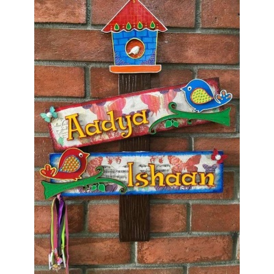 Bird House Kids Name Plate  door name plates for cute kids room hand made hitchki dot in 0018