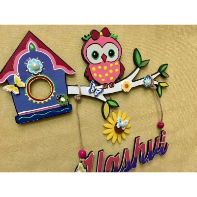 Girly Owl Kids Name Plate  door name plates for cute kids room hand made hitchki dot in 0019
