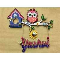 Girly Owl Kids Name Plate  door name plates for cute kids room hand made hitchki dot in 0020