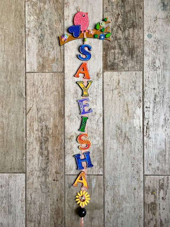 Bird on tree Kids Name Plate  door name plates for cute kids room hand made hitchki dot in 0021