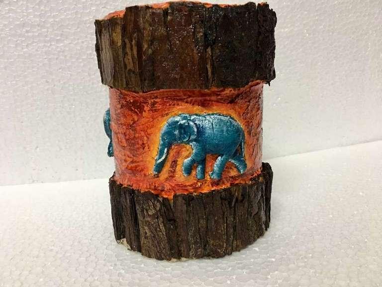 Elephant Pillar Tea Light  elephant hand made festive tea lights for diwali hitchki dot in 0003