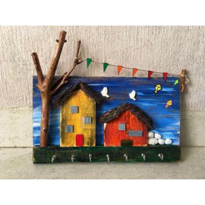 Village house Wooden Key Holder  key holders hangers hand made hitchki dot in personalized gifts 0001