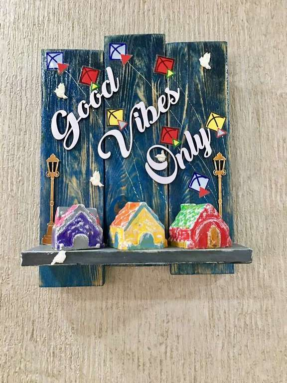 Good Vibes Only Wooden Name Plate  name plates hangers hand made hitchki dot in personalized gifts 0002