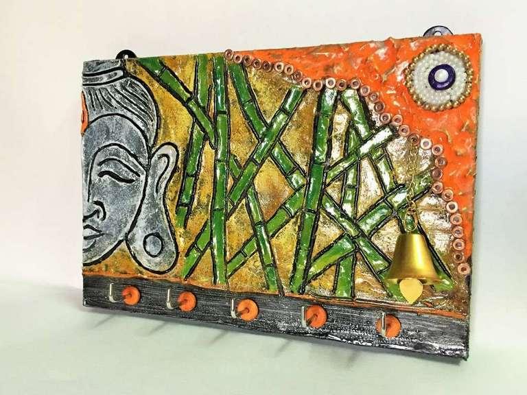 Bamboo Buddha Key Holder  key holders hangers hand made hitchki dot in personalized gifts 0008