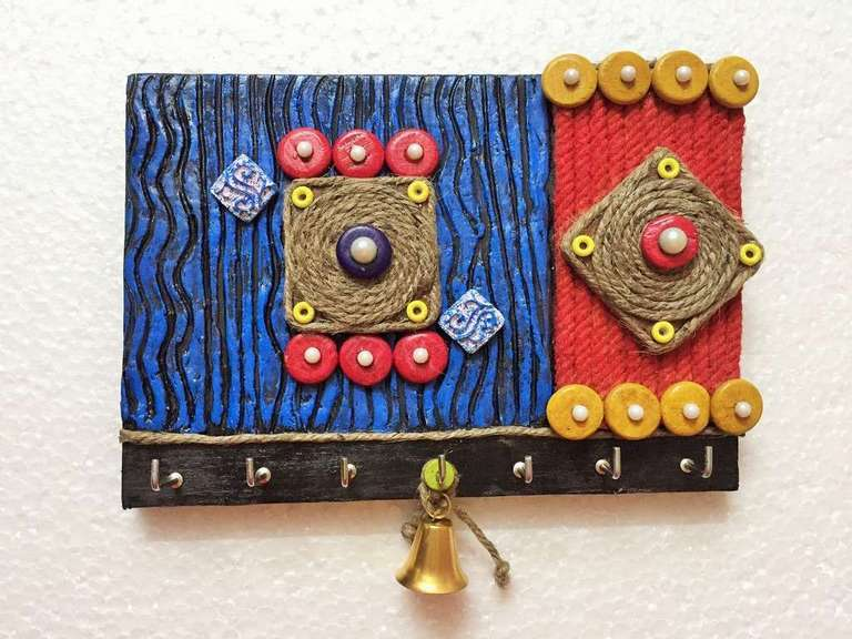 Geometric Design Wooden Key Holder  key holders hangers hand made hitchki dot in personalized gifts 0009