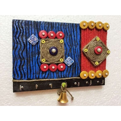 Geometric Design Wooden Key Holder  key holders hangers hand made hitchki dot in personalized gifts 0010