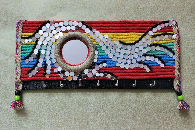 Mirror mosaic Rainbow Key Holder  key holders hangers hand made hitchki dot in personalized gifts 0014