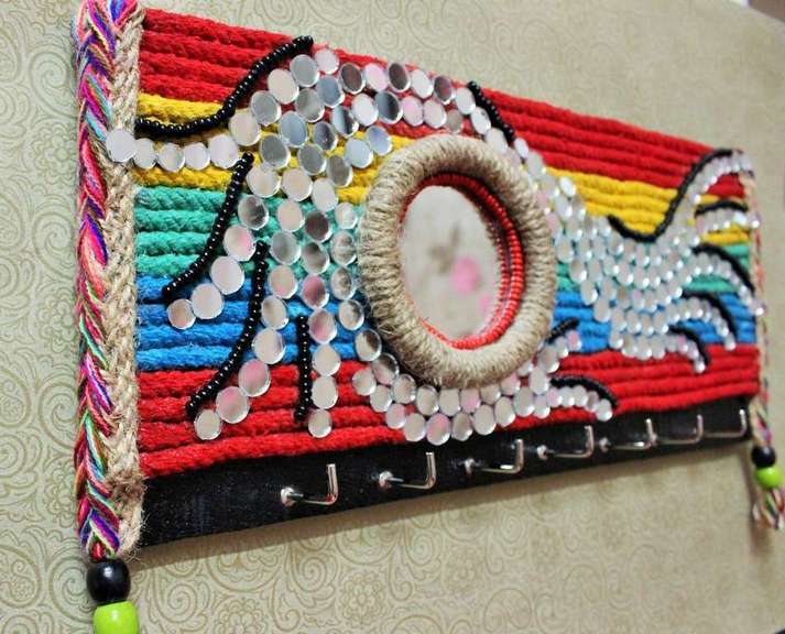 Mirror mosaic Rainbow Key Holder  key holders hangers hand made hitchki dot in personalized gifts 0015