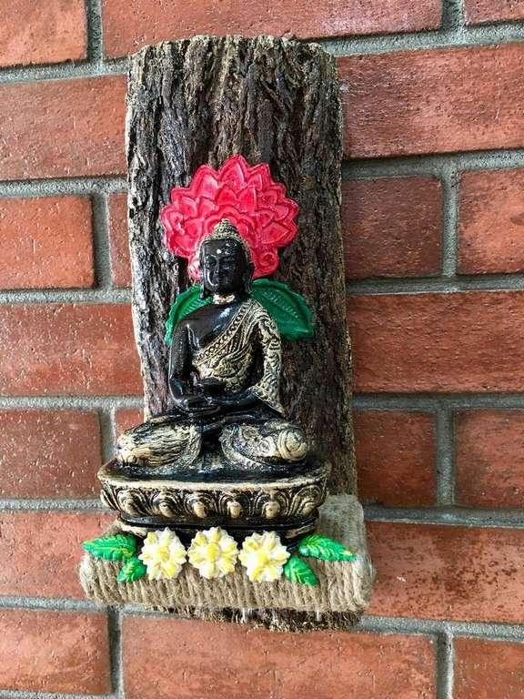 Buddha Wood log Key Holder  key holders hangers hand made hitchki dot in personalized gifts 0016