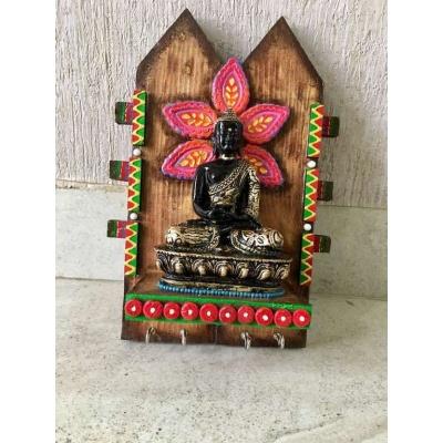 Meditating Buddha Wooden Key Holder  key holders hangers hand made hitchki dot in personalized gifts 0019