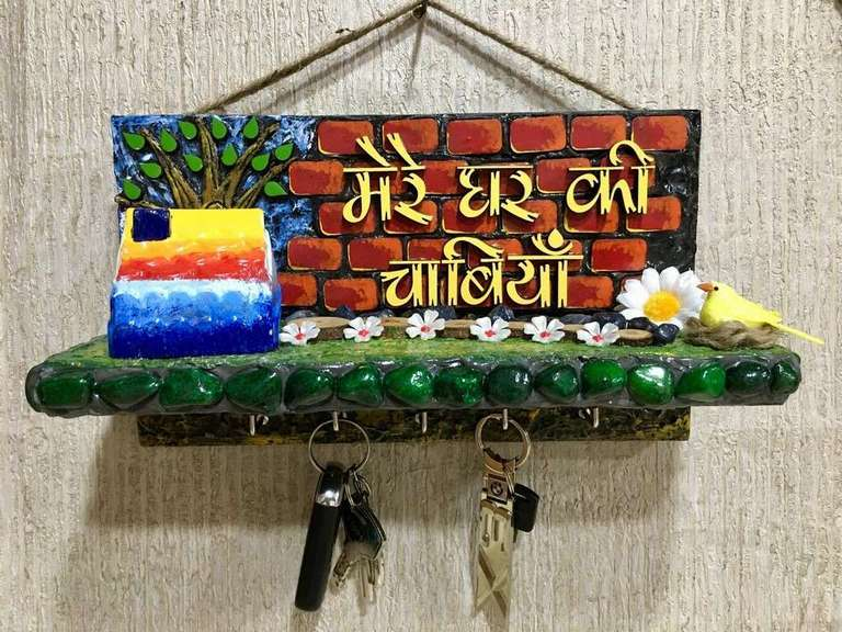 Mere Ghar Ki chabiaan Wooden Key Holder  key holders hangers hand made hitchki dot in personalized gifts 0021