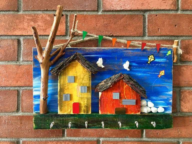 Village house Wooden Key Holder  key holders hangers hand made hitchki dot in personalized gifts 0025