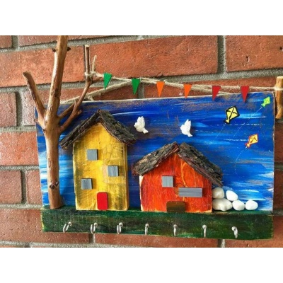 Village house Wooden Key Holder  key holders hangers hand made hitchki dot in personalized gifts 0026