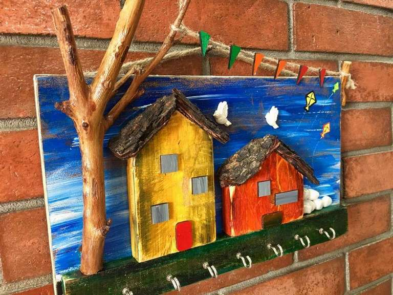 Village house Wooden Key Holder  key holders hangers hand made hitchki dot in personalized gifts 0027