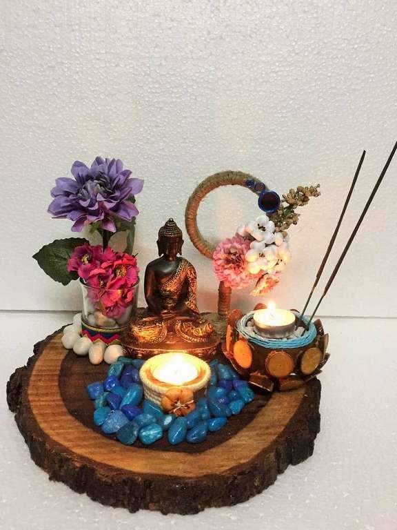 Natural Wood Slice Buddha T Light  & Candles
