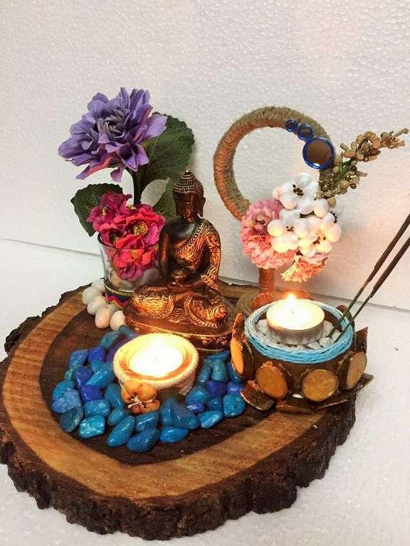 Buddha Wood Log Tea Light  lord buddha gautam budha hand made festive tea lights for diwali hitchki dot in