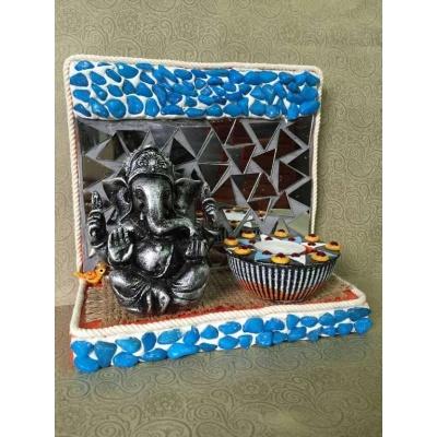 Ganesha Mirror mosaic Tea light  lord ganesha hand made festive tea lights for diwali hitchki dot in 0001