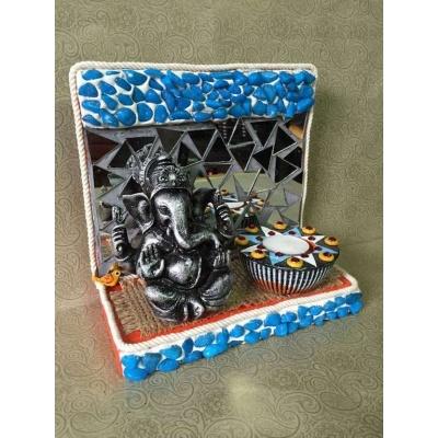 Ganesha Mirror mosaic Tea light  lord ganesha hand made festive tea lights for diwali hitchki dot in 0003