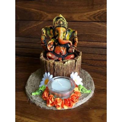 Ganesha on wood bark base Tea Light  lord ganesha hand made festive tea lights for diwali hitchki dot in 0004