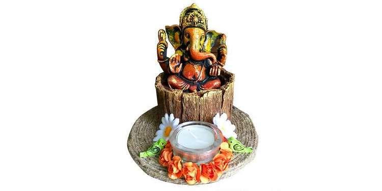 Ganesha on wood bark base Tea Light  lord ganesha hand made festive tea lights for diwali hitchki dot in 0005