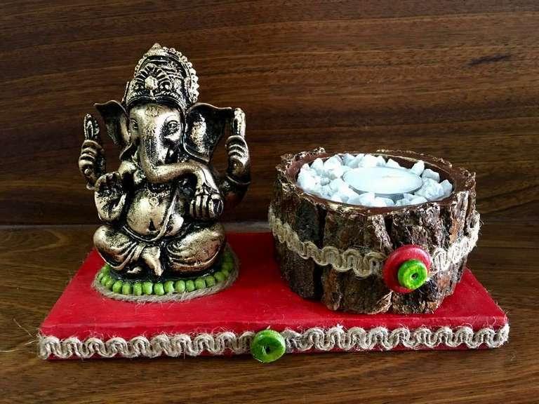 Red base Ganesha Tea Light  lord ganesha hand made festive tea lights for diwali hitchki dot in 0006