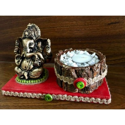 Red base Ganesha Tea Light  lord ganesha hand made festive tea lights for diwali hitchki dot in 0007