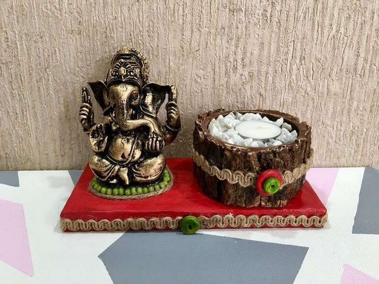 Red base Ganesha Tea Light  lord ganesha hand made festive tea lights for diwali hitchki dot in 0009