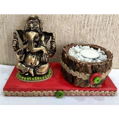 Red base Ganesha Tea Light  lord ganesha hand made festive tea lights for diwali hitchki dot in 0010